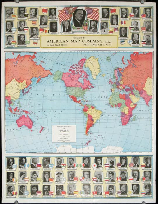 Equal - Area Projection of The World. (Verso: New Map of Europe). by WORLD  MAP - WORLD WAR II) - No date. Between 1933 and 1939. - from ...