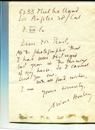 6233 Mulholland Los Angeles 28/Cal, 8/viii/62. 1 page. 4to. About Fine, remnant of paper at bottom f...