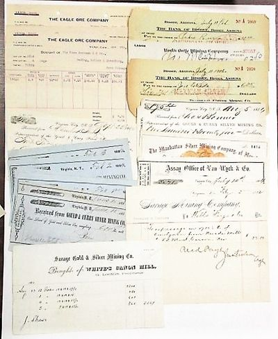 Nevada, California, Colorado, Arizona, Montana, 1905. Documents of many different sizes, approx. 3-1...