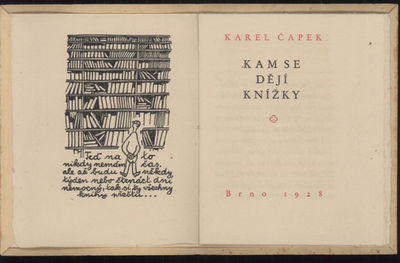 Brno: , 1928. Small octavo, pp. 5-14 , three illustrations by Josef Capek, title page and colophon p...