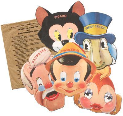 : Walt Disney Productions / Gillette Blue Blades, 1939. Unbound. Fine. Five die-cut masks in a print...
